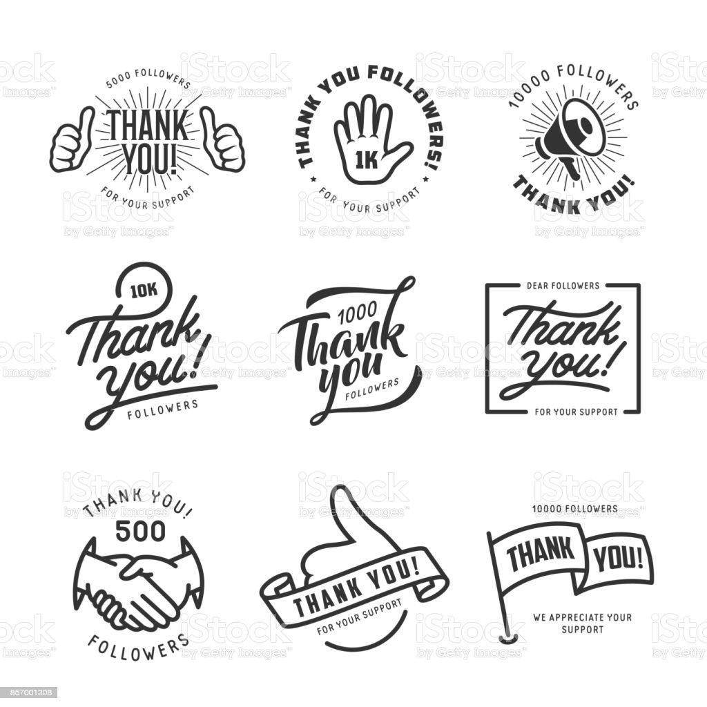 Thank you followers labels set. Vector vintage illustration.