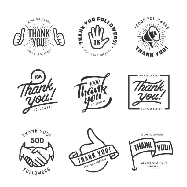 Thank you followers labels set. Vector vintage illustration. Thank you followers labels set. Monochrome stickers for social web. Vector vintage illustration. short phrase stock illustrations