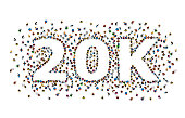 Thank you followers peoples, 20k online social group, happy banner celebrate, Vector illustration
