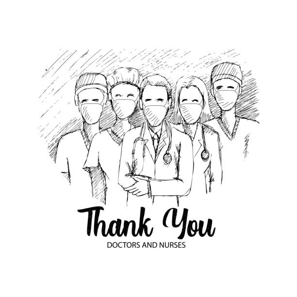 thank you for doctor and nurse for fight corona virus covid-19 - thank you background stock illustrations