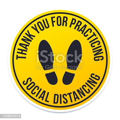 Thank you for practicing social distancing circle badge.