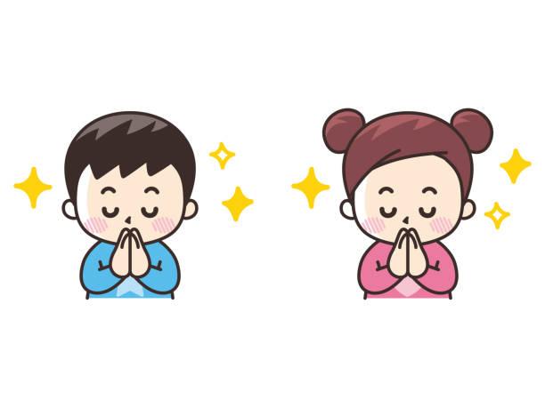 ilustrações de stock, clip art, desenhos animados e ícones de thank you for putting your hands together. boy and girl - somente japonês