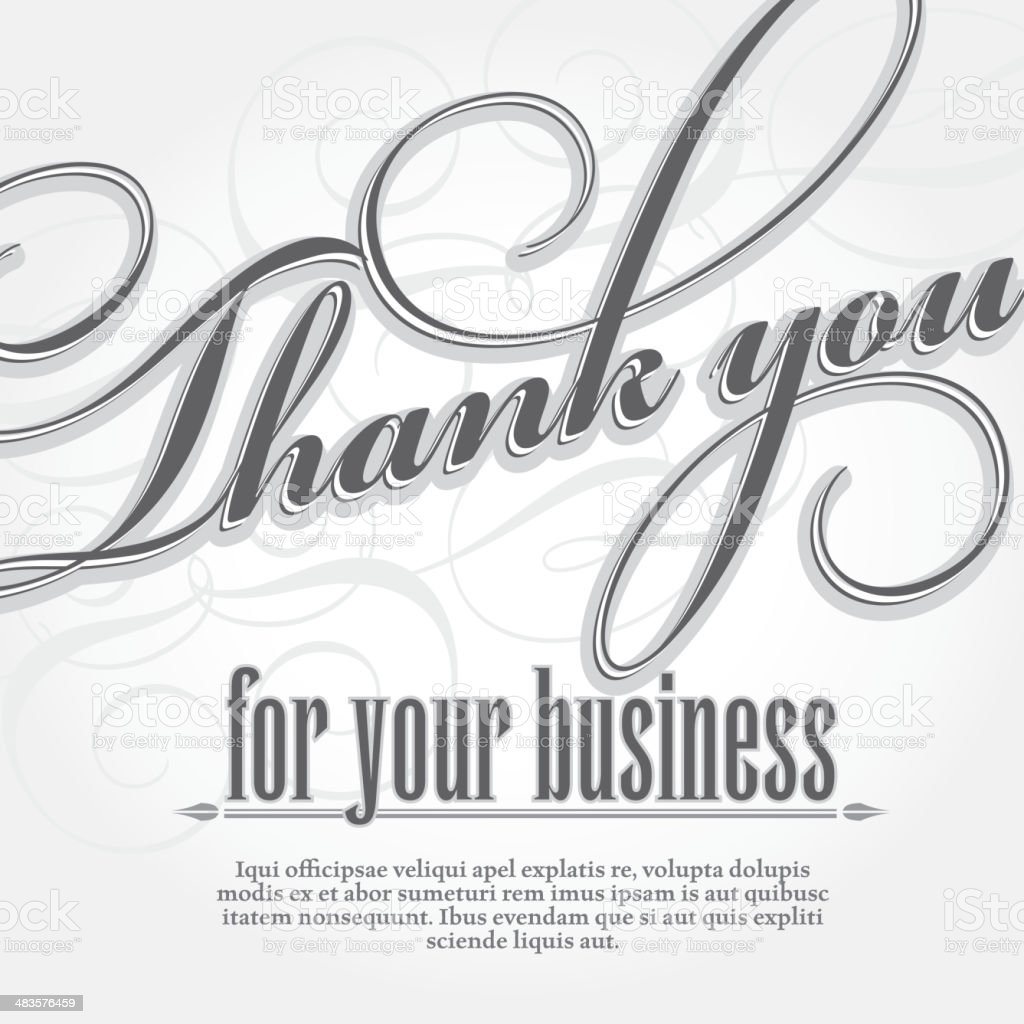 Thank You For Your Business Design Card Template Stock Vector Art ...
