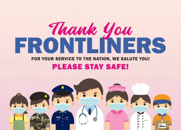 thank you frontline worker poster - essential workers stock illustrations