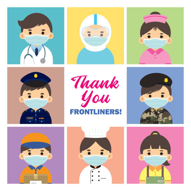 thank you frontline worker - essential workers stock illustrations