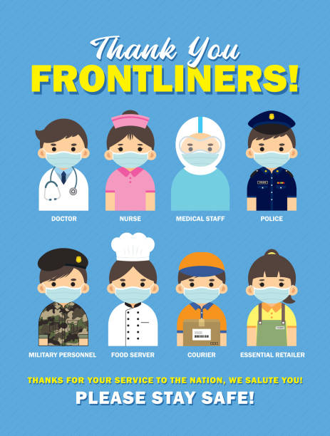 thank you frontline worker who work for nation during coronavirus (covid-19) outbreak - essential workers stock illustrations