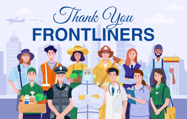 thank you frontliners concept. various occupations people. vector - essential workers stock illustrations