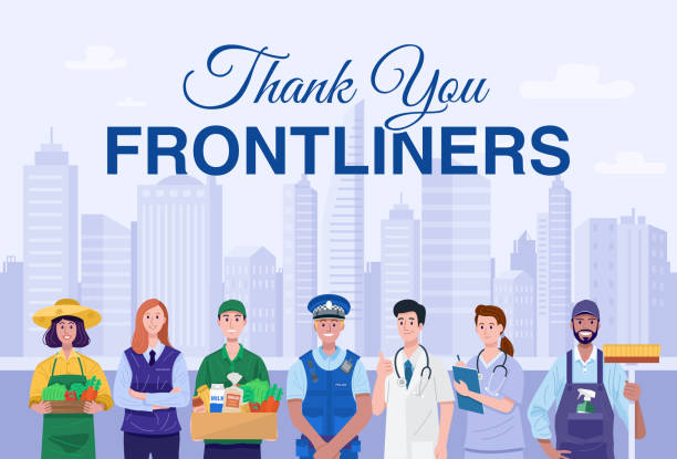thank you frontliners concept. various occupations people wearing face masks. vector - essential workers stock illustrations