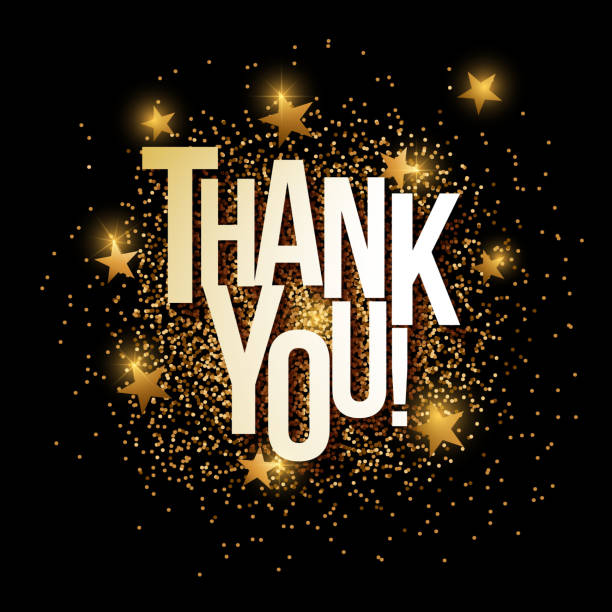 thank you golden glitter background banner. - thank you background stock illustrations