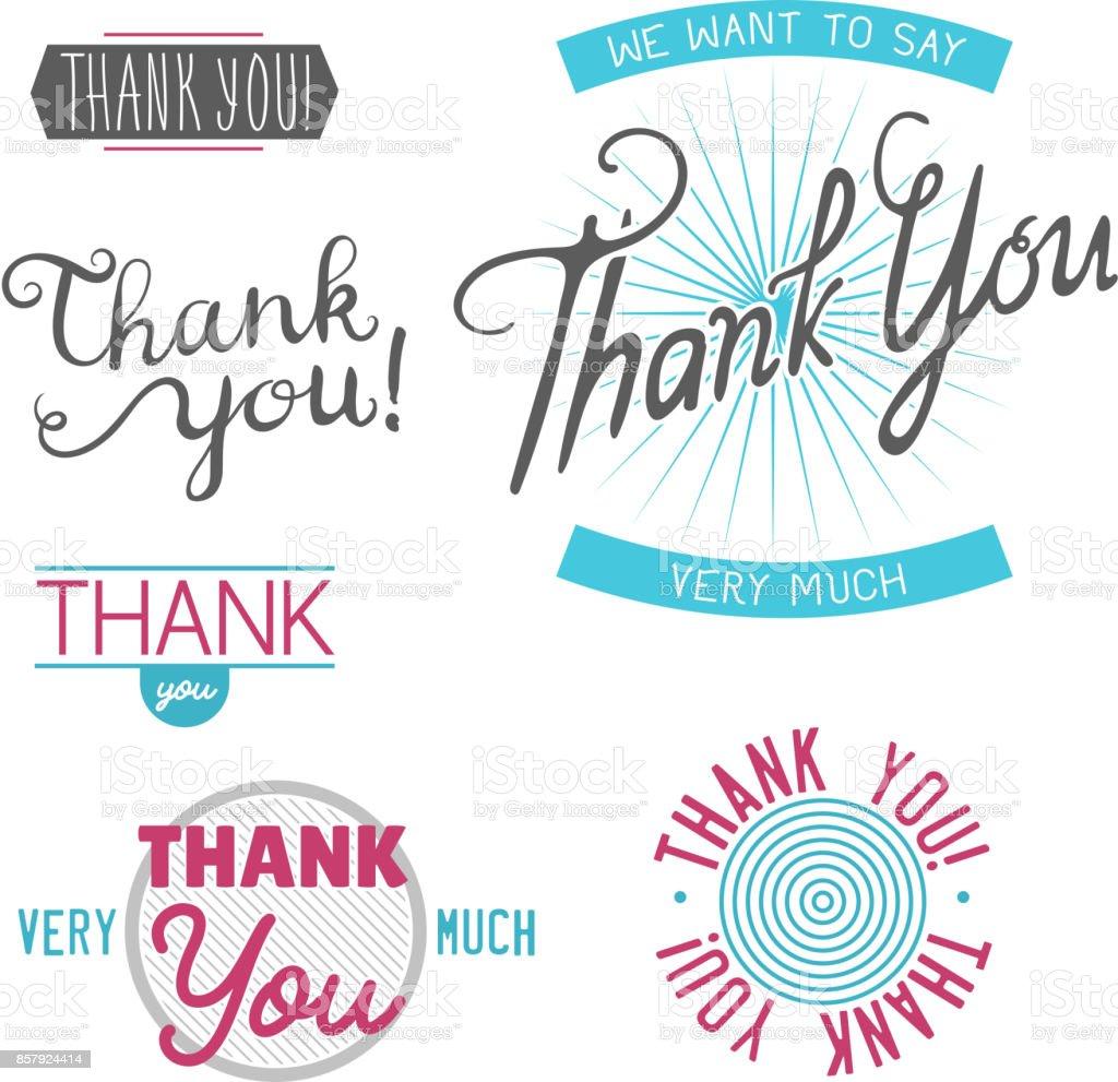 Ich Danke Ihnen Dankbarkeit Gefühl Emotionen Schriftzug Vektor ...