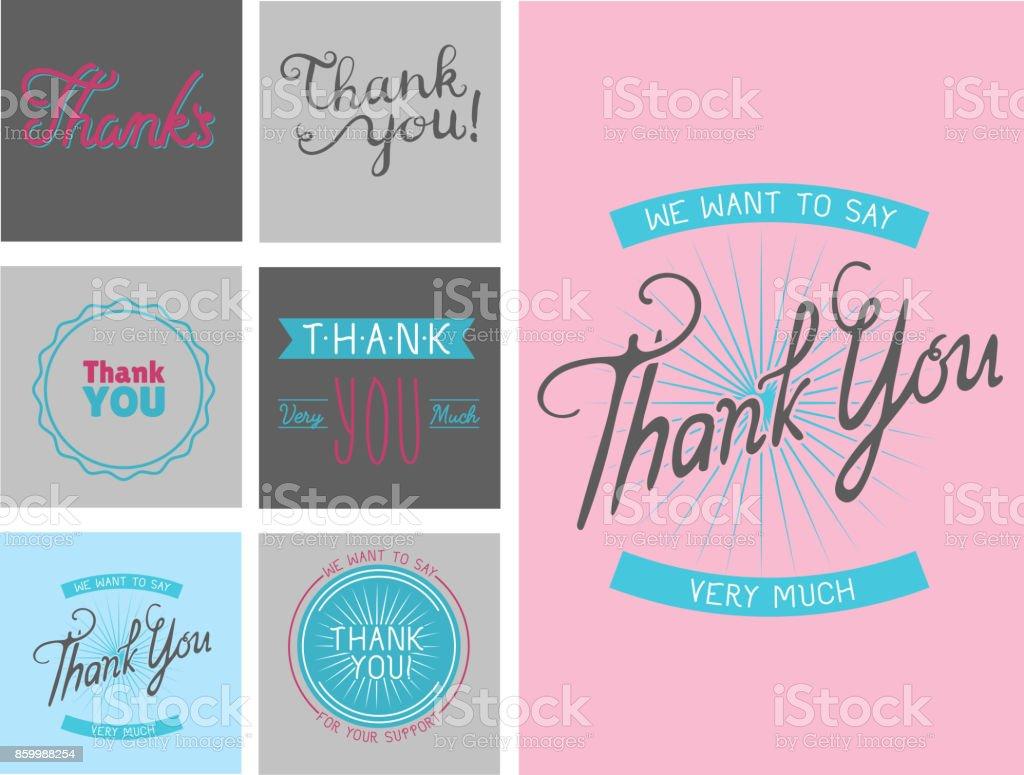 Ich danke Ihnen Dankbarkeit Gefühl Emotionen Schriftzug Vektor Karte Design Thanksfull Zitat Phrasen SMS – Vektorgrafik
