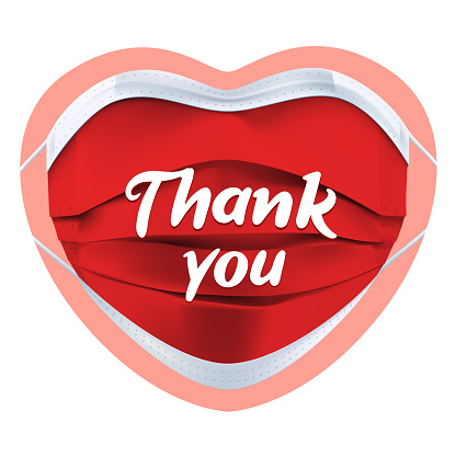 Thank you gratitude to medical workers - sticker or badge design, red face mask in the form of a heart and text lettering. Thank you Doctors and Nurses vector poster. Coronavirus, COVID-19, pandemic conceptual quote. Isolated on a white background.