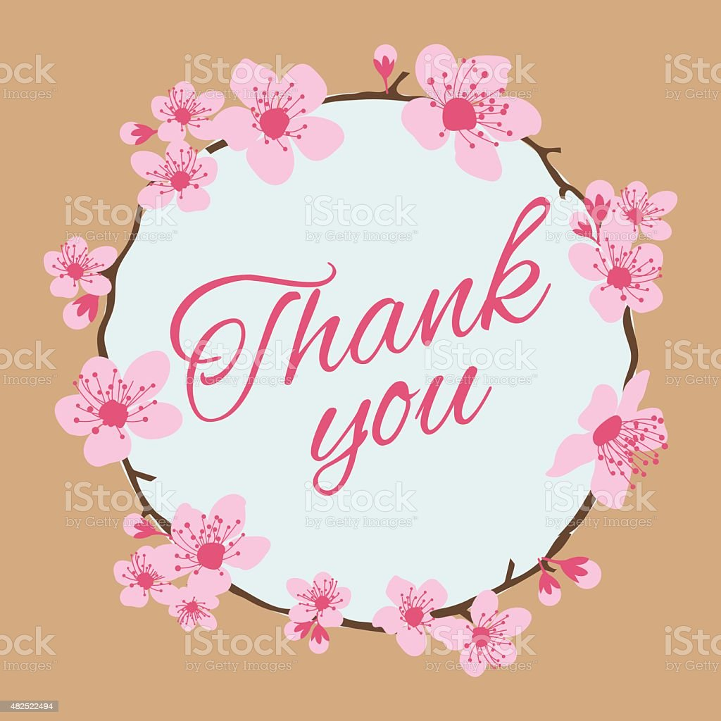 Thank you greeting card cherry blossom frame vector illustration thank you greeting card cherry blossom frame vector illustration royalty free thank you greeting kristyandbryce Images