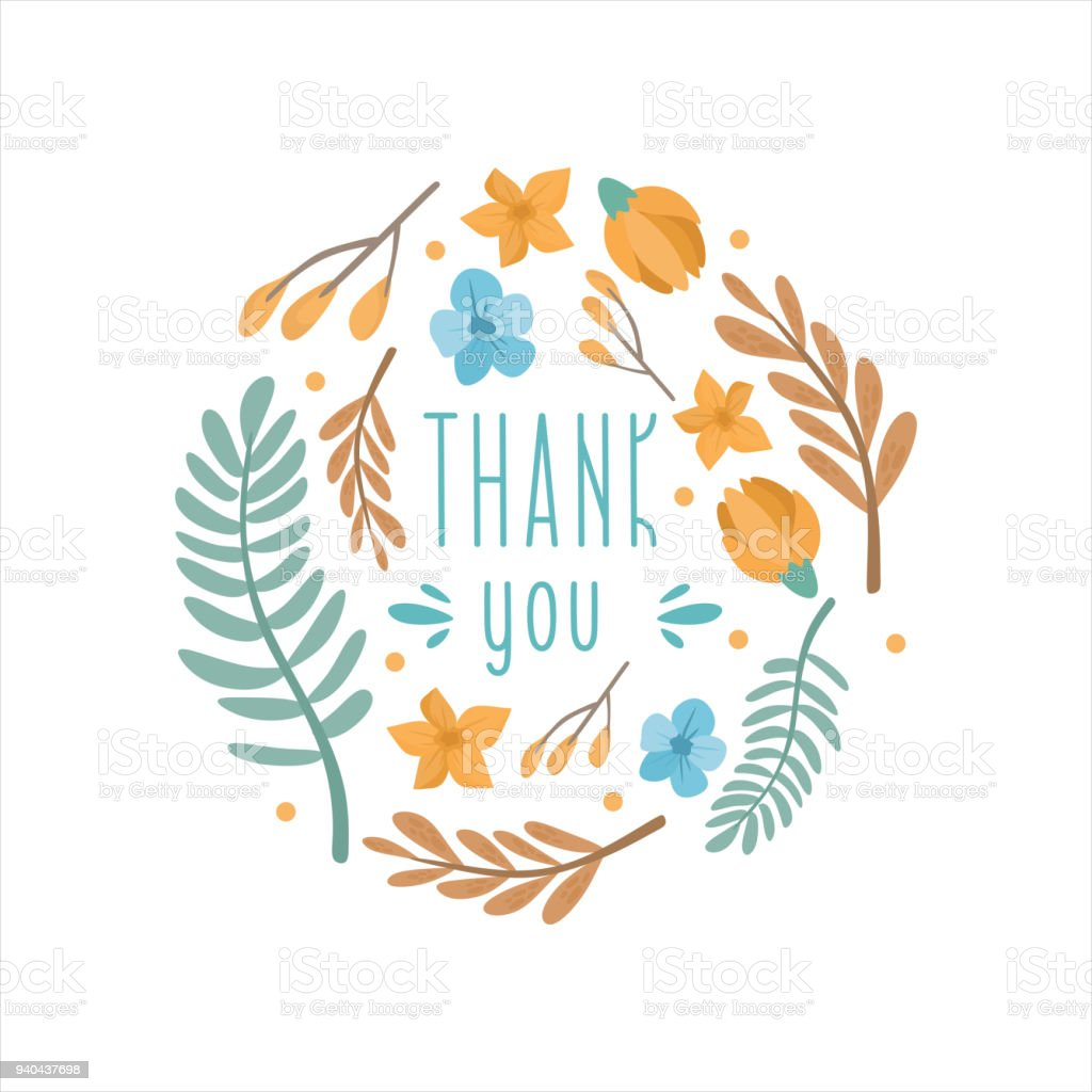 Thank You Greeting Card Cute Frame With Flowers And Leaves Stock