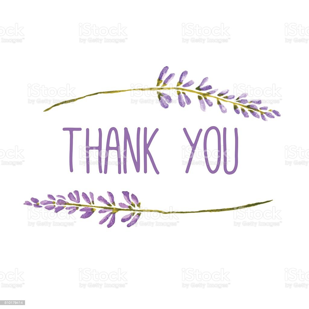 Thank You Greeting Card With Flowers Of Lavender Vector Watercolor