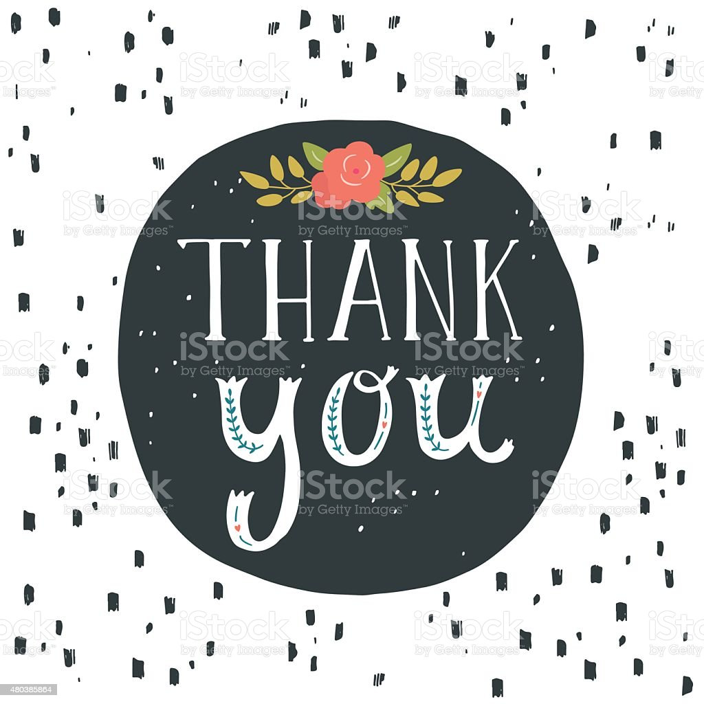 Thank You Greeting Card With Hand Lettering And Flowers Stock Vector