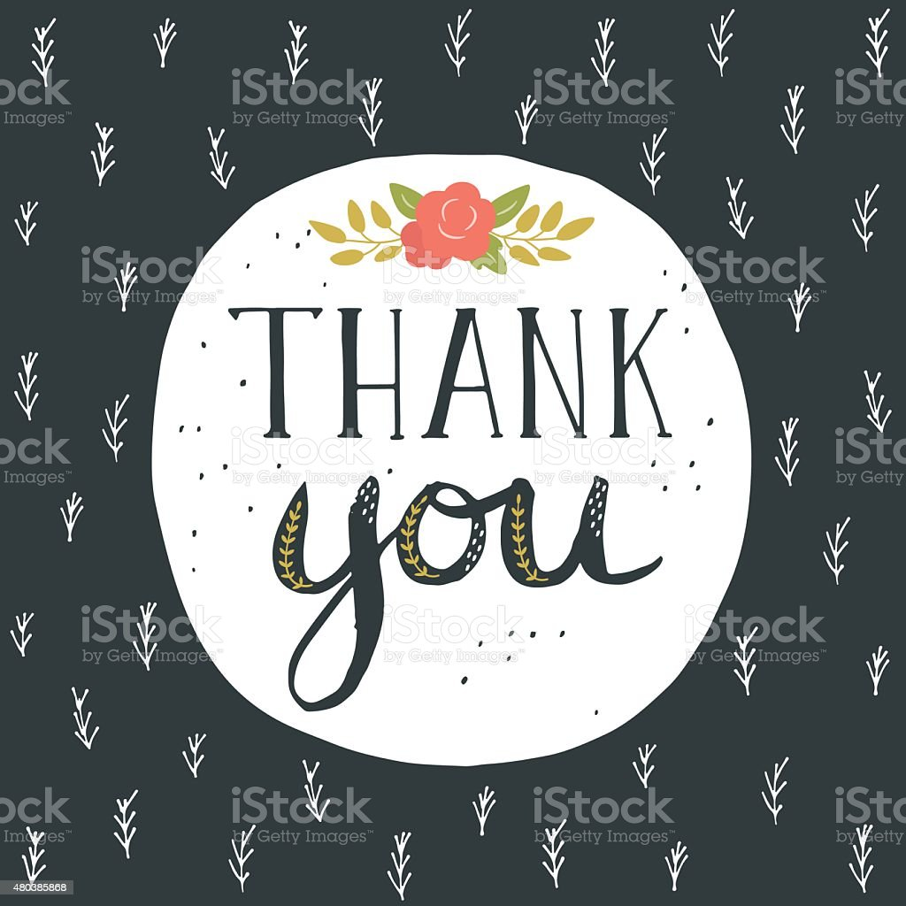 Thank you greeting card with hand lettering and flowers stock vector thank you greeting card with hand lettering and flowers royalty free thank you m4hsunfo