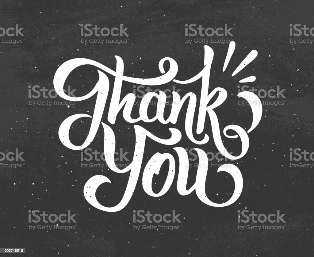 Thank You hand drawn chalk lettering vector art illustration