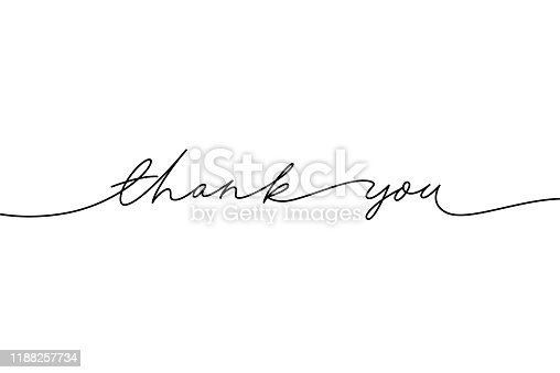 istock Thank you hand drawn vector modern calligraphy. Thank you handwritten ink illustration. 1188257734
