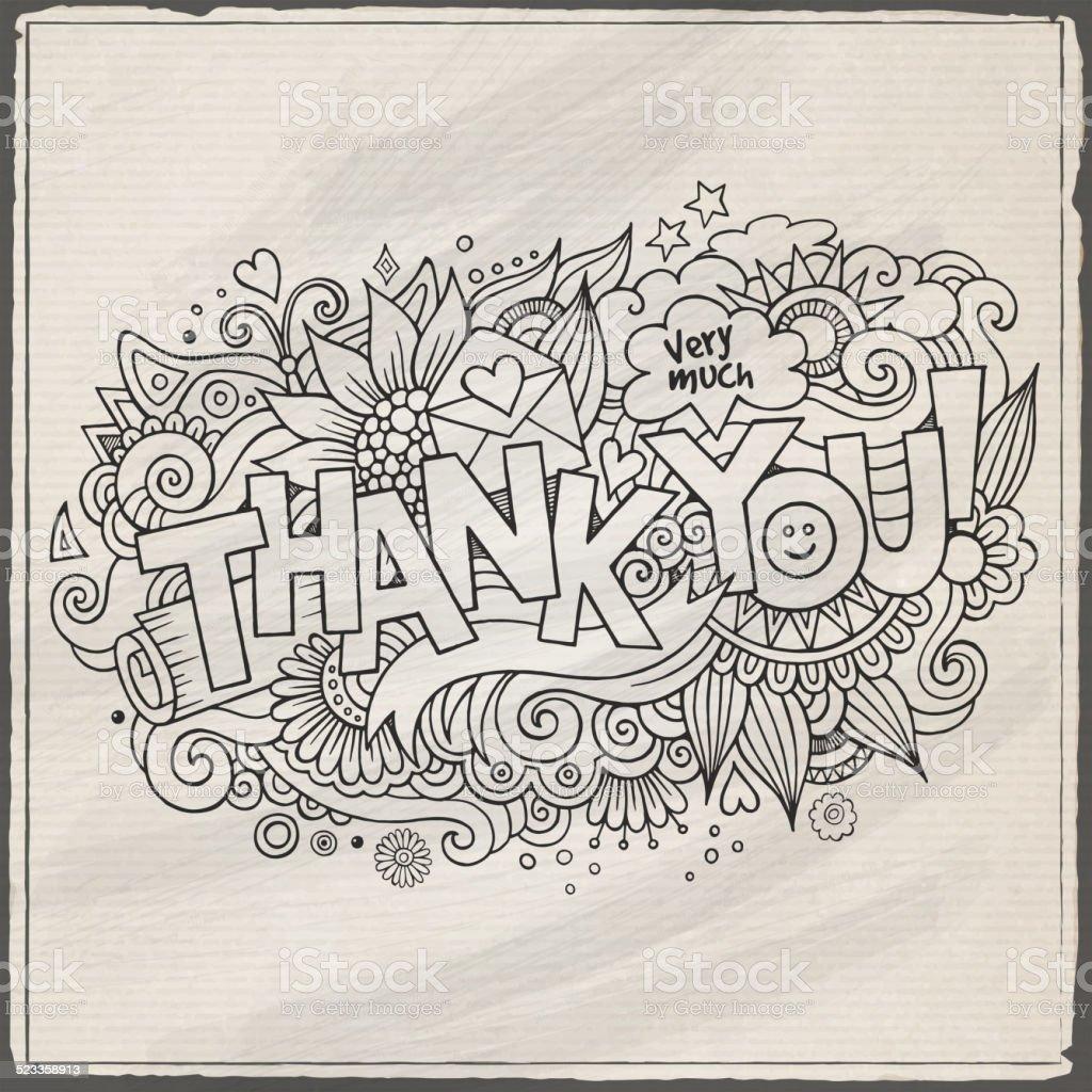 «Merci» main lettrage et crayonnages éléments d'arrière-plan merci main lettrage et crayonnages éléments darrièreplan vecteurs libres de droits et plus d'images vectorielles de abstrait libre de droits