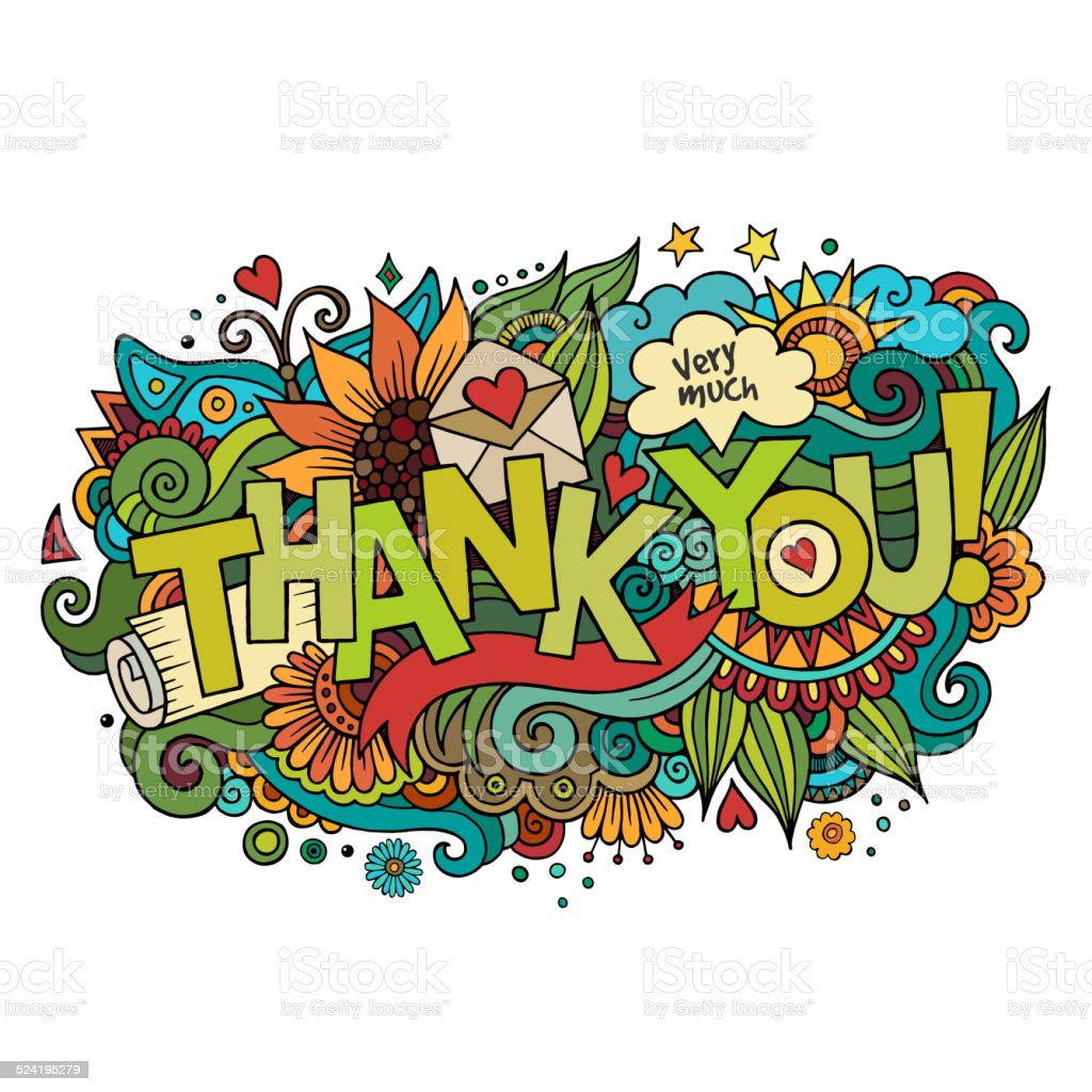 Thank You Hand Lettering And Doodles Elements Background ...