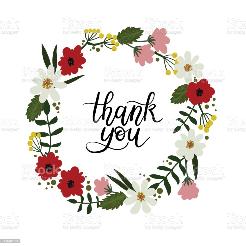 Thank you hand lettering card modern calligraphy floral