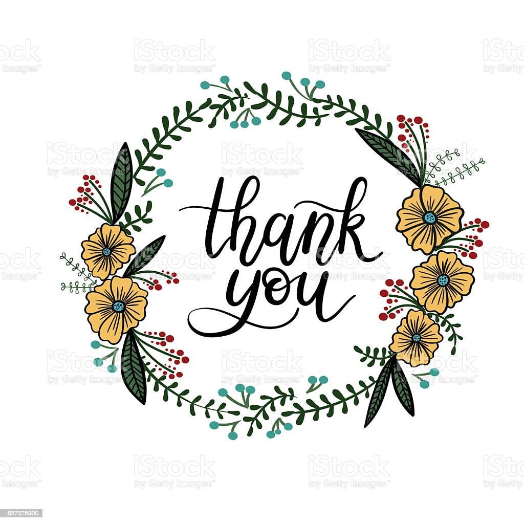 Thank you hand lettering card with floral wreath modern