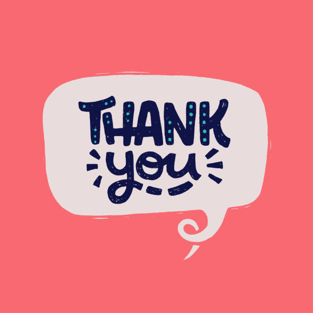Thank You hand lettering phrase Handdrawn lettering phrase Thank You in a speech bubble. Comic style thanking inscription on coral background. Handwritten thankfulness expression for ecard, credit line, token gift print, sticker. thank you phrase stock illustrations