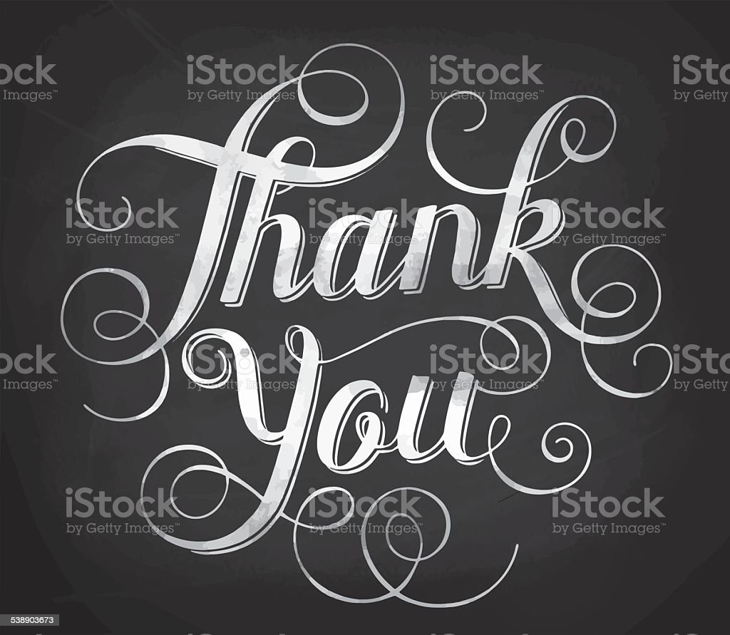 Thank you. Hand lettering vector art illustration
