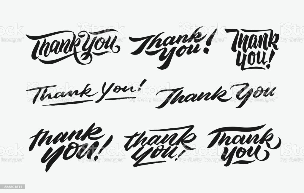 thank you hand written lettering bundle 1 vector art illustration