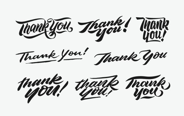 thank you hand written lettering bundle 1 - thank you stock illustrations