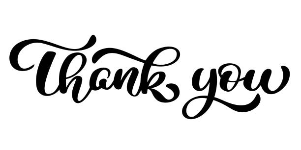 thank you handwritten inscription. hand drawn lettering. thank you calligraphy. thank you card. vector illustration - thank you stock illustrations