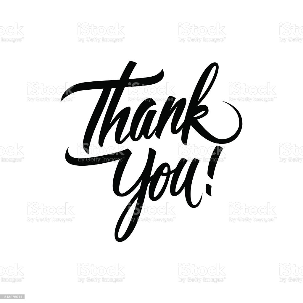 Thank You handwritten inscription. Hand drawn lettering. - Royalty-free Alfabe Vector Art