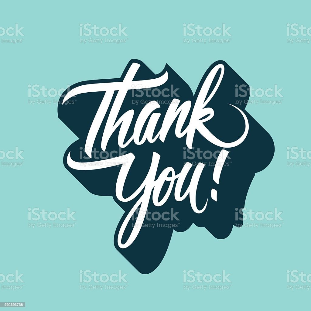 Thank You handwritten inscription. Hand drawn lettering. vector art illustration
