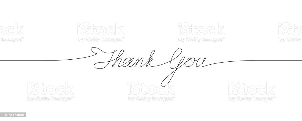 Thank You handwritten inscription. One line drawing of phrase - Векторная графика Thank You - английское словосочетание роялти-фри