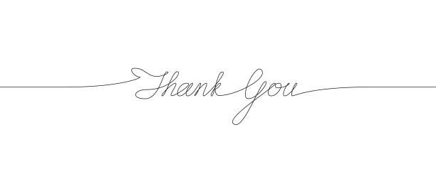 thank you handwritten inscription. one line drawing of phrase - thank you stock illustrations