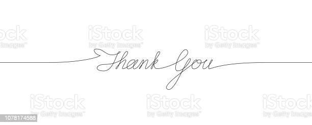 Thank You Handwritten Inscription One Line Drawing Of Phrase — стоковая векторная графика и другие изображения на тему Thank You - английское словосочетание