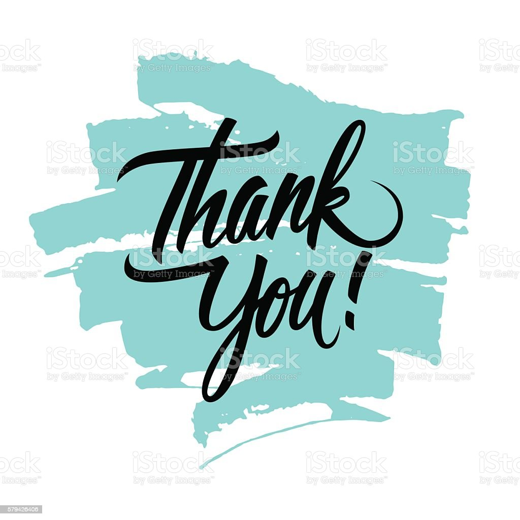 Thank You handwritten inscription with brush stroke. vector art illustration
