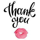 istock Thank you handwritten inscription with watercolor kissing lips 1067140388