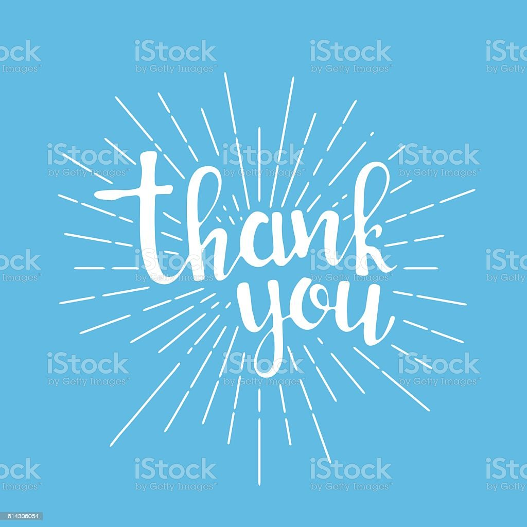 Thank you handwritten lettering vector art illustration