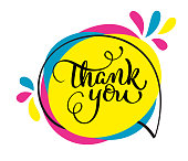 Thank you handwritten vector illustration, colorful lettering on tag.
