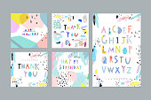 Thank You, Happy Birthday, Happy Holiday cards and posters plus Hand Drawn Artistic Alphabet . Cutout letters. Typeface. Font. Cute, fun and creative design. Vector. Isolated