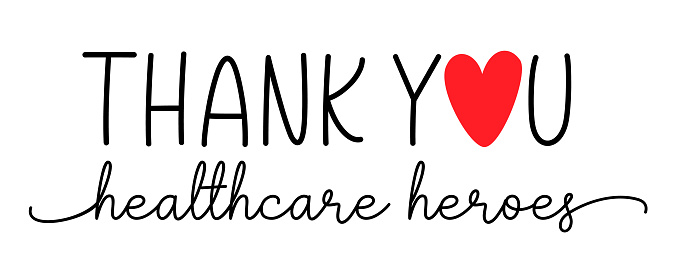Thank you healthcare heroes. Vector brush lettering typography text - thank you heroes.