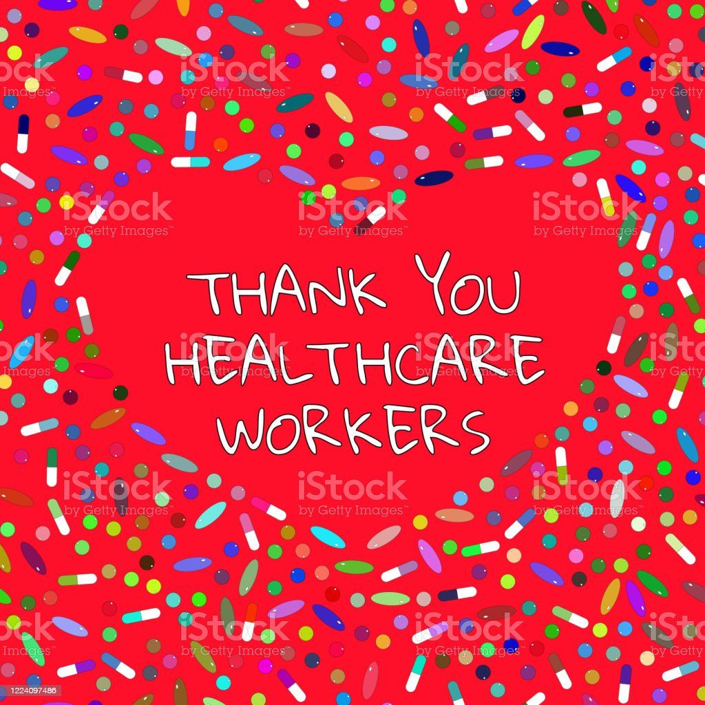 Thank You Healthcare Workers Red Thanks Banner With Heart Pills Capsules Tablets For Brave Doctors Nurses Struggling With An Outbreak Of Coronavirus Covid19 Vector Illustration Design For Card Stock Illustration Download