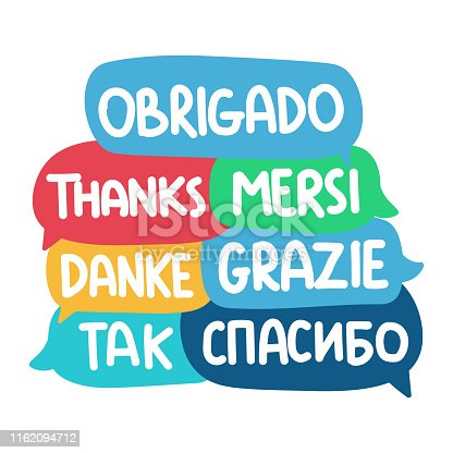 Set of hand drawn vector speech bubbles illustrations on white background.
