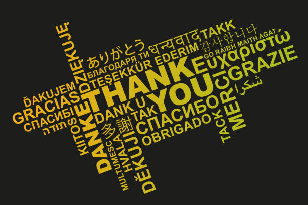 thank you in different languages word cloud greeting card - thank you background stock illustrations