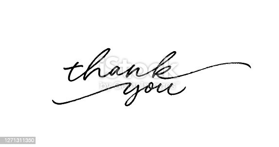 istock Thank you ink brush vector lettering. Thank you modern phrase handwritten vector calligraphy with swooshes. 1271311350