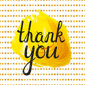Thank you inscription on yellow acryl stain background and golden seamless pattern. Handwritten grunge letters. Can be used for flyer, banner, poster, card, postcard, label etc. Vector illustration.