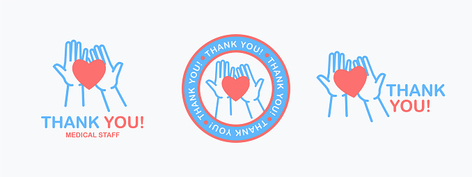 Thank you. Isolated phrase with silhouette of hands holding a heart symbol on the palms on white background. Thank you medical staff set.