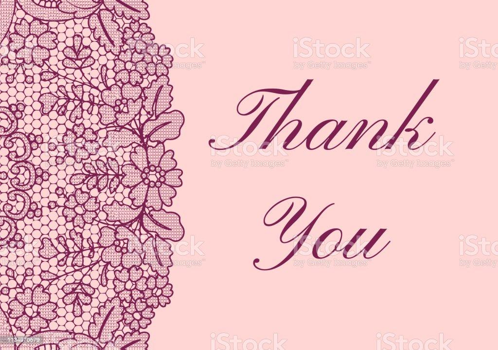 Thank you lace card векторная иллюстрация